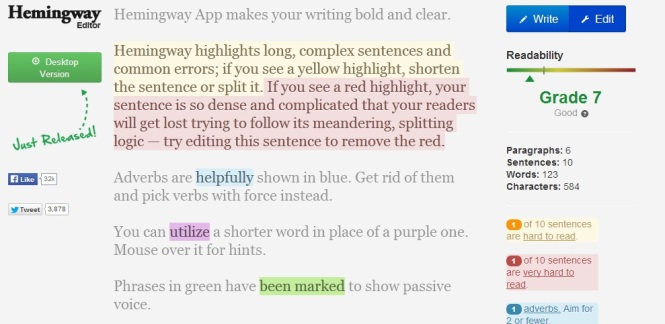 Writing tool to improve your sentences.